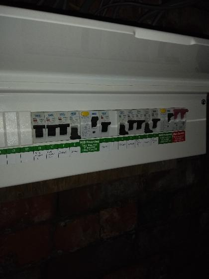 Main consumer unit with new supply tails, new main earth and fully fire rated.