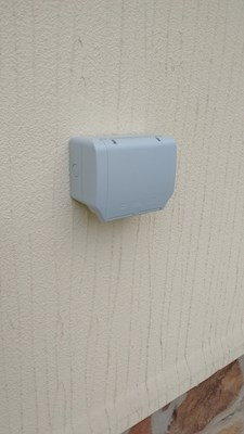 Outdoor socket supplied and fitted to a static park home.