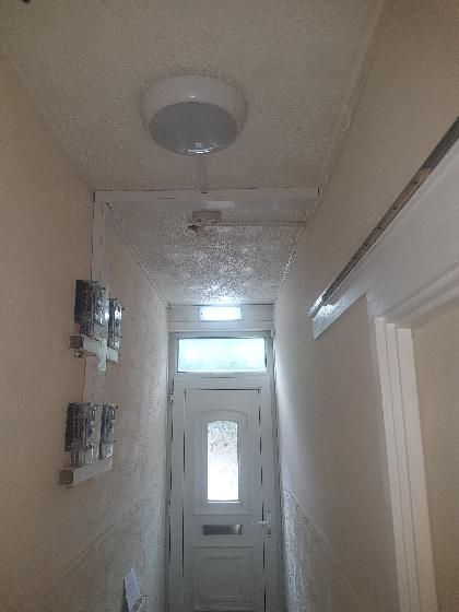 Entrance hall emergency light, sensor led light, smoke detector, meter's and surface trunking